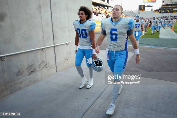 Quarterback Josh Woodrum and wide receiver Kenny Bell of the Salt Lake Stallions before the Alliance of American Football game at Sun Devil Stadium...