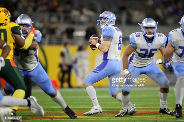 Quarterback Josh Woodrum of the Salt Lake Stallions drops back to pass during the Alliance of American Football game at Sun Devil Stadium on February...
