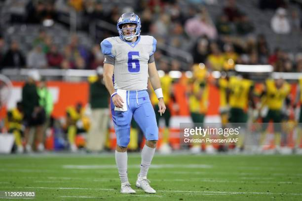 Quarterback Josh Woodrum of the Salt Lake Stallions during the Alliance of American Football game at Sun Devil Stadium on February 10 2019 in Tempe...