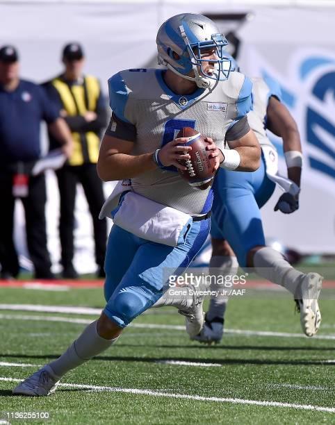 Quarterback Josh Woodrum of the Salt Lake Stallions looks to pass against the Memphis Express during the third quarter at Rice Eccles Stadium on...