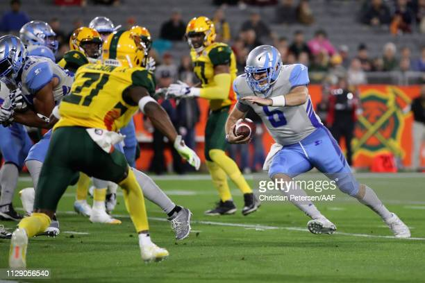 Quarterback Josh Woodrum of the Salt Lake Stallions scores a twopoint conversion against the Arizona Hotshots during the Alliance of American...