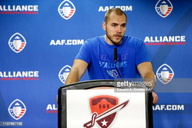 Quarterback Josh Woodrum of the Salt Lake Stallions speaks at a press conference after his teams loss to the San Antonio Commanders 1915 in the...