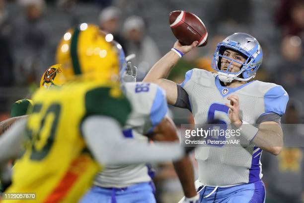Quarterback Josh Woodrum of the Salt Lake Stallions throws a pass against the Arizona Hotshots during the Alliance of American Football game at Sun...