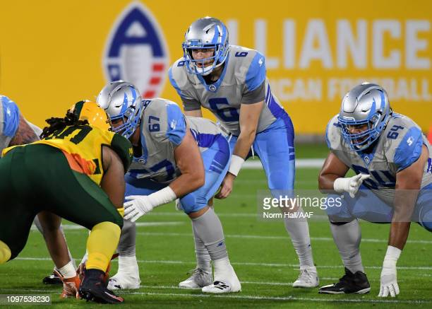 Quarterback Josh Woodrum of the Salt Lake Stallions calls out a play during the first quarter of the Alliance of American Football game against the...