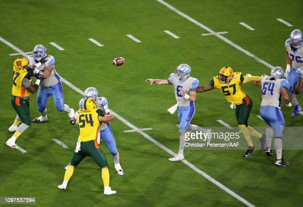 Quarterback Josh Woodrum of the Salt Lake Stallions completes a pass during the first quarter of the Alliance of American Football game against the...