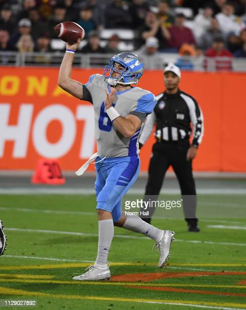 Quarterback JoshÊWoodrum of the Salt Lake Stallions looks to throw the ball during the Alliance of American Football game against the Arizona...