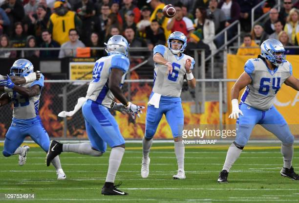 Quarterback Josh Woodrum of the Salt Lake Stallions passes from the pocket during the first quarter of the Alliance of American Football game against...