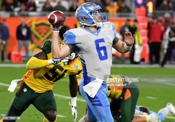 Quarterback Josh Woodrum of the Salt Lake Stallions passes from the pocket during the first half of the Alliance of American Football game against...