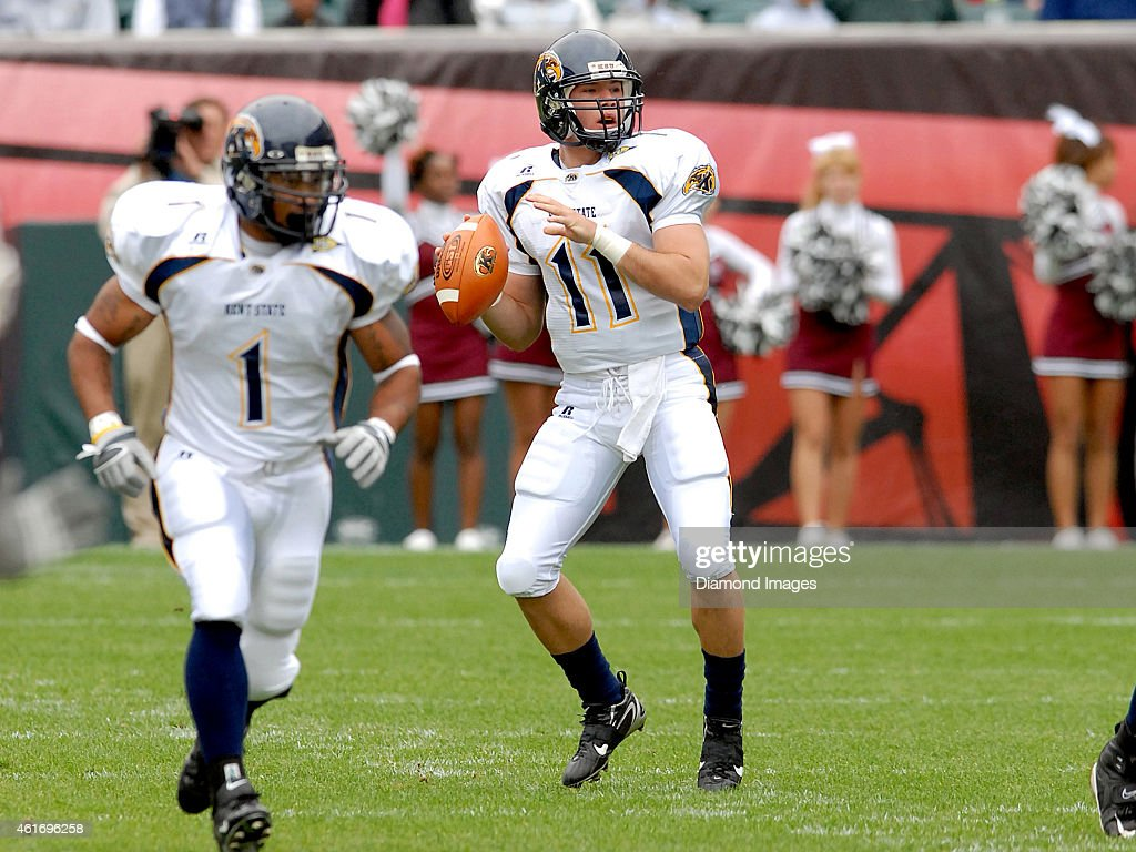 Quarterback Julian Edelman 11 Of The Kent State Golden Flashes Drops Back To Pass During