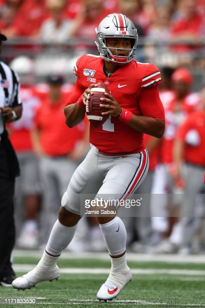 Quarterback Justin Fields of the Ohio State Buckeyes passes against the Florida Atlantic Owls at Ohio Stadium on August 31 2019 in Columbus Ohio