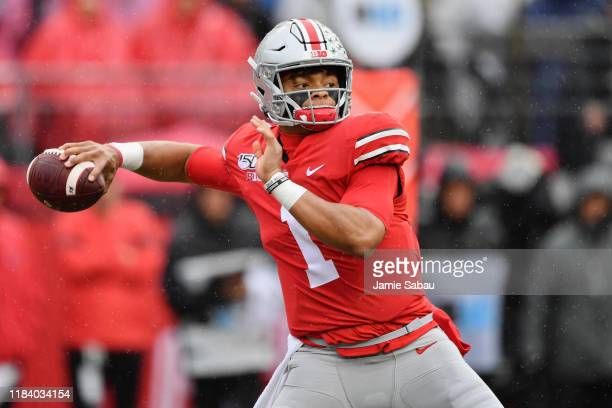 Quarterback Justin Fields of the Ohio State Buckeyes throws against the Wisconsin Badgers at Ohio Stadium on October 26 2019 in Columbus Ohio