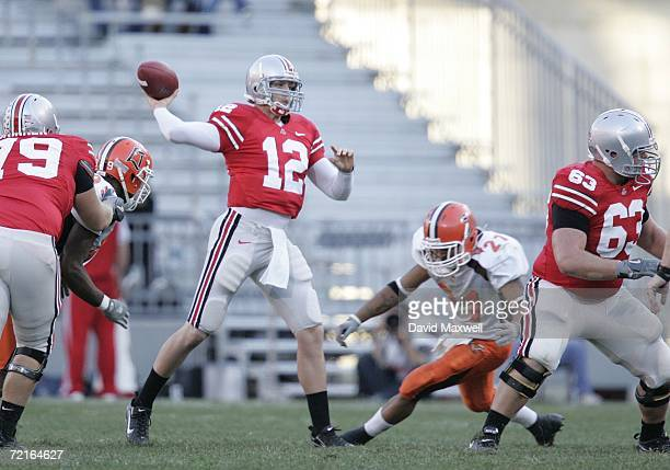 Quarterback Justin Zwick of the Ohio State Buckeyes throws a pass during the game against the Bowling Green Falcons at Ohio Stadium on October 7 2006...