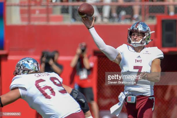 Quarterback Kaleb Barker of the Troy Trojans attempts a pass against the Nebraska Cornhuskers at Memorial Stadium on September 15 2018 in Lincoln...