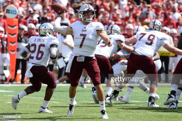 Quarterback Kaleb Barker of the Troy Trojans passes against the Nebraska Cornhuskers in the second half at Memorial Stadium on September 15 2018 in...
