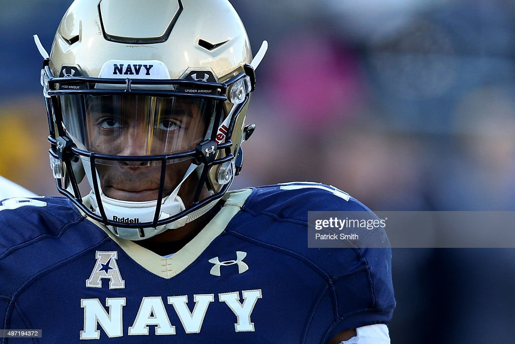 Quarterback Keenan Reynolds #19 of the Navy Midshipmen warmup before play against the Southern Methodist Mustangs at Navy-Marine Corps Memorial Stadium on November 14, 2015 in Annapolis, Maryland.