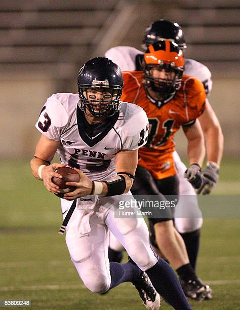 Quarterback Keiffer Garton of the Pennsylvania Quakers runs with the ball during the game against the Princeton Tigers on November 7 2008 at Palmer...