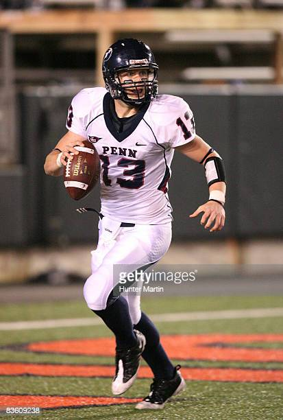 Quarterback Keiffer Garton of the Pennsylvania Quakers scrambles out of the pocket during the game against the Princeton Tigers on November 7 2008 at...
