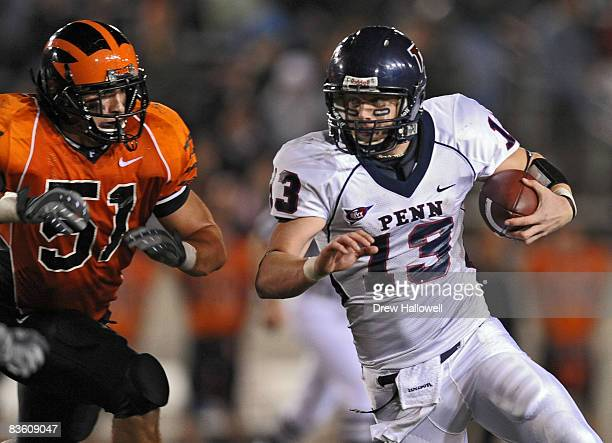 Quarterback Keiffer Garton of the Pennsylvania Quakers scrambles during the game against the Princeton Tigers on November 7 2008 at Palmer Stadium in...