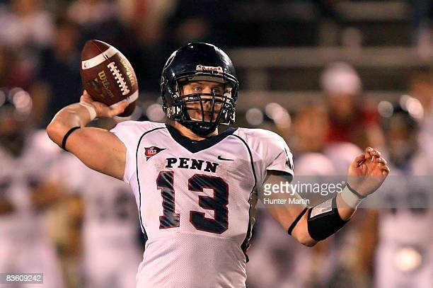Quarterback Keiffer Garton of the Pennsylvania Quakers throws a pass during the game against the Princeton Tigers on November 7 2008 at Palmer...