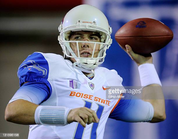 Quarterback Kellen Moore of the Boise State Broncos warms up before a game against the UNLV Rebels at Sam Boyd Stadium November 5 2011 in Las Vegas...