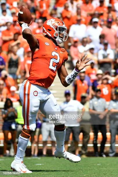 Quarterback Kelly Bryant of the Clemson Tigers attempts a pass during the first quarter of the Tigers' football game against the Furman Paladins at...