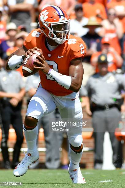 Quarterback Kelly Bryant of the Clemson Tigers rolls out of the pocket during the Clemson Tigers' football game against the Furman Paladins on...