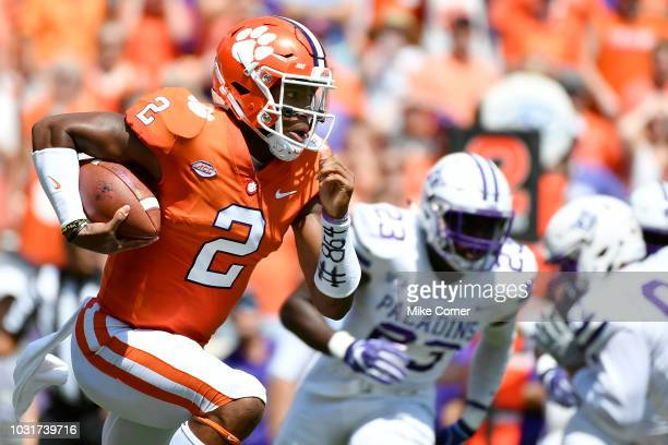 Quarterback Kelly Bryant of the Clemson Tigers runs the football during the first quarter of the Tigers' football game against the Furman Paladins at...