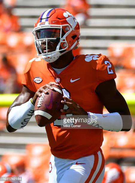 Quarterback Kelly Bryant of the Clemson Tigers warms up prior to the start of the Clemson Tigers' football game against the Furman Paladins on...