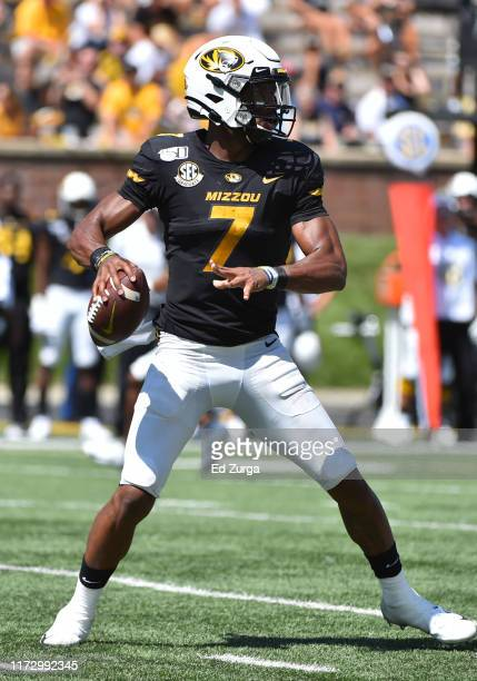 Quarterback Kelly Bryant of the Missouri Tigers looks to pass against the West Virginia Mountaineers in the third quarter at Faurot Field/Memorial...
