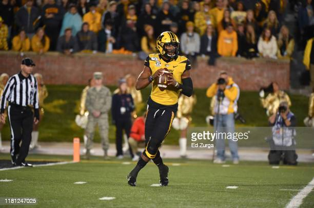 Quarterback Kelly Bryant of the Missouri Tigers looks to pass against the Mississippi Rebels at Memorial Stadium on October 12 2019 in Columbia...