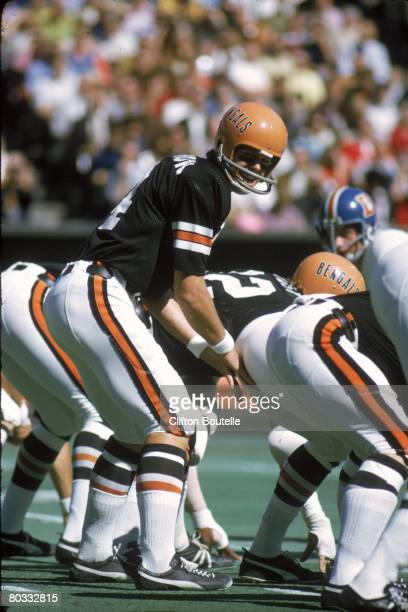 Quarterback Ken Anderson of the Cincinnati Bengals sets the offense against the Denver Broncos during a game at Riverfront Stadium on October 8 1972...