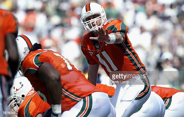 Quarterback Ken Dorsey of Miami calls the play at the line of scrimmage against Florida State during the game on October 12, 2002 at the Orange Bowl...