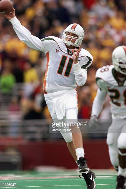 Quarterback Ken Dorsey of the Miami Hurricanes throws a pass against the Boston College Eagles during the game on November 10 2001 at Alumni Field in...