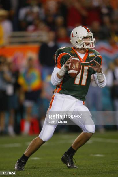 Quarterback Ken Dorsey of the University of Miami Hurricanes drops back to pass against the Ohio State Buckeyes during the Tostitos Fiesta Bowl at...