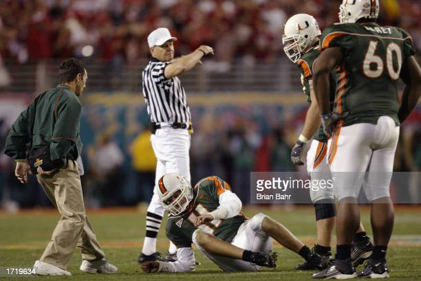 Quarterback Ken Dorsey the University of Miami Hurricanes is injured during the game against Ohio State Buckeyes during the Tostitos Fiesta Bowl at...