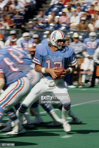 Quarterback Ken Stabler of the Houston Oilers drops back to pass during a game on September 28 1980 against the Cincinnati Bengals at Riverfront...