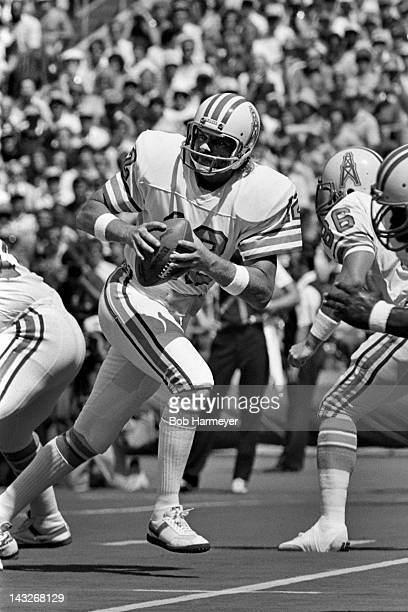 Quarterback Ken Stabler of the Houston Oilers drops back to throw a pass against the Pittsburgh Steelers on September 7 at Three Rivers Stadium in...