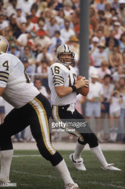 Quarterback Ken Stabler of the New Orleans Saints drops back to pass during the NFL Hall of Fame Game at Fawcett Stadium in Canton Ohio in 1983
