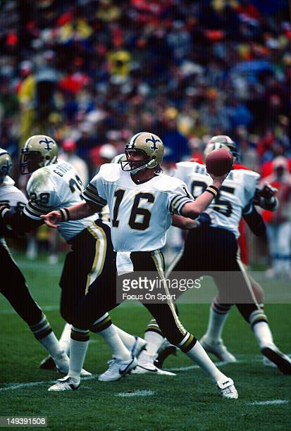 Quarterback Ken Stabler of the New Orleans Saints drops back to pass against the San Francisco 49ers during an NFL football game November 28 1982 at...