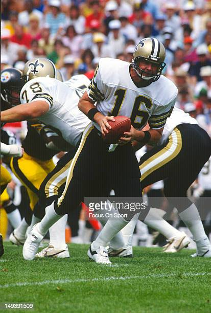 Quarterback Ken Stabler of the New Orleans Saints drops back to pass against the Pittsburgh Steelers during an NFL football game circa 1984 Stabler...