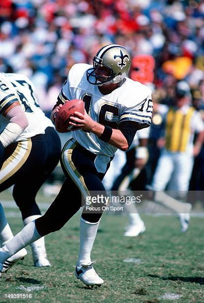 Quarterback Ken Stabler of the New Orleans Saints drops back to pass against the Atlanta Falcons during an NFL football game October 9 1983 at...