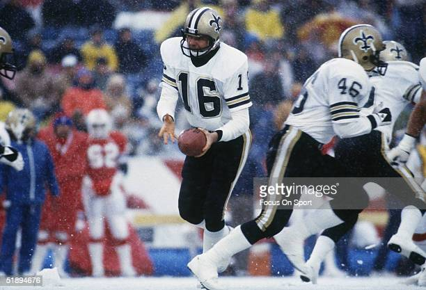 Quarterback Ken Stabler of the New Orleans Saints prepares to pass the ball during a game circa 1990's
