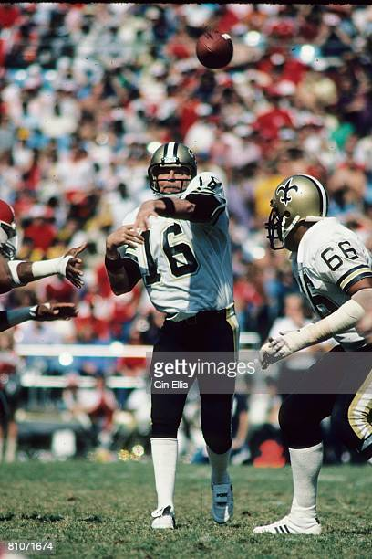 Quarterback Ken Stabler of the New Orleans Saints throws a pass against the Atlanta Falcons in Atlanta FultonCounty Stadium on October 9 1983 in...