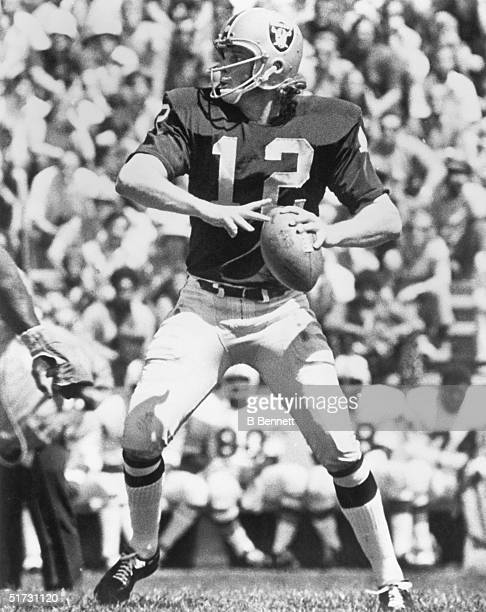 Quarterback Ken Stabler of the Oakland Raiders looks to pass during a game circa 1970-1979.