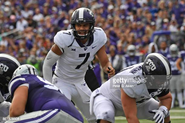 Quarterback Kenny Hill of the TCU Horned Frogs calls out a play against the Kansas State Wildcats during the first half on October 14 2017 at Bill...
