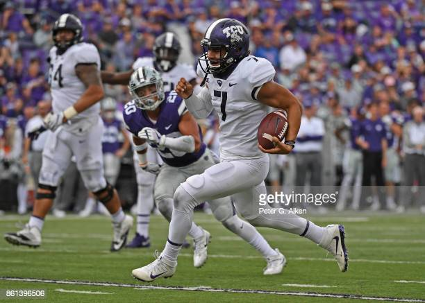 Quarterback Kenny Hill of the TCU Horned Frogs scrambles against the Kansas State Wildcats during the second half on October 14 2017 at Bill Snyder...
