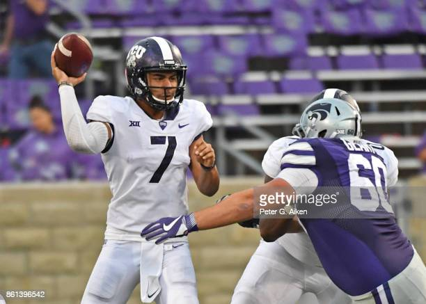 Quarterback Kenny Hill of the TCU Horned Frogs throws a pass against the Kansas State Wildcats during the second half on October 14 2017 at Bill...