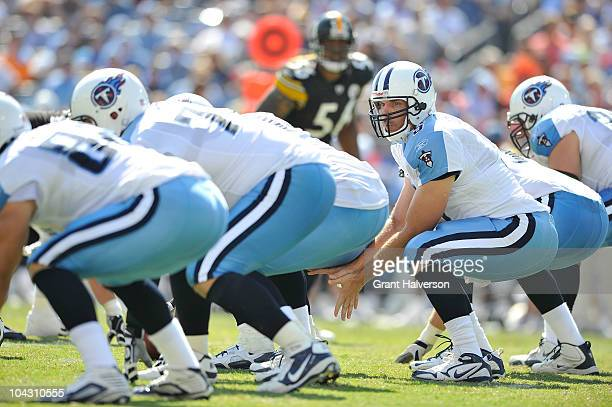 Quarterback Kerry Collins of the Tennessee Titans against the Pittsburgh Steelers at LP Field on September 19 2010 in Nashville Tennessee The...