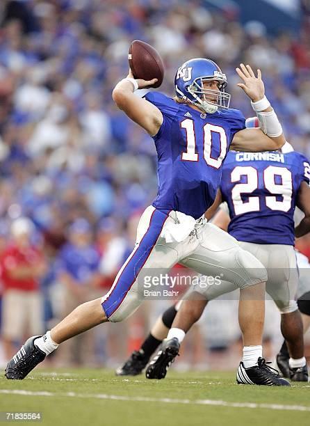 Quarterback Kerry Meier of the Kansas Jayhawks throws against the Louisiana Monroe Warhawks in the second quarter on September 9, 2006 at Memorial...