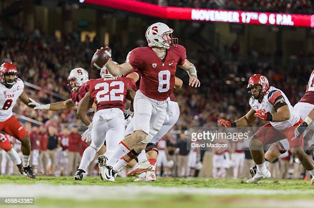 Quarterback Kevin Hogan of the Stanford Cardinal attempts a pass during a PAC12 NCAA football game against the Utah Utes played on November 15 2014...